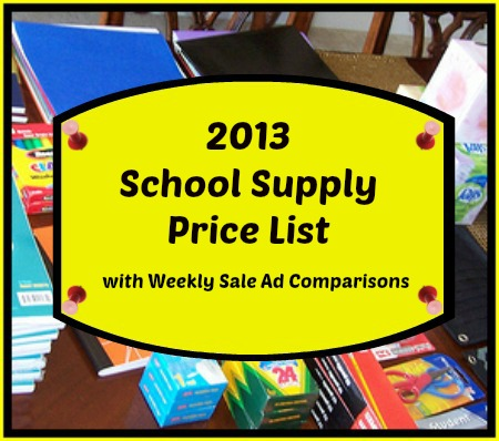 2013 school supply price list